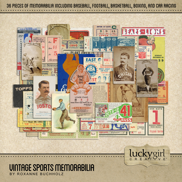 Vintage Sports Memorabilia Digital Art - Digital Scrapbooking Kits
