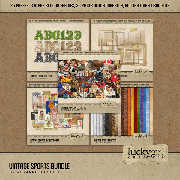 Vintage Sports Bundle Digital Art - Digital Scrapbooking Kits