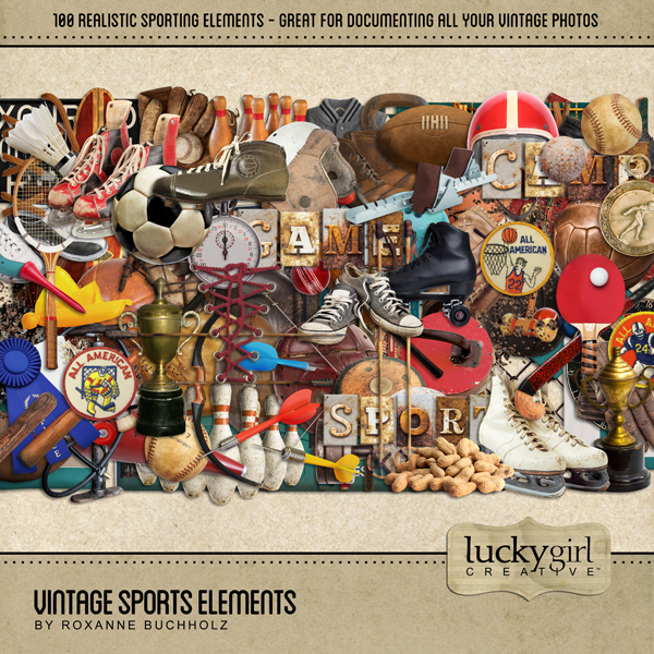 Vintage Sports Elements Digital Art - Digital Scrapbooking Kits