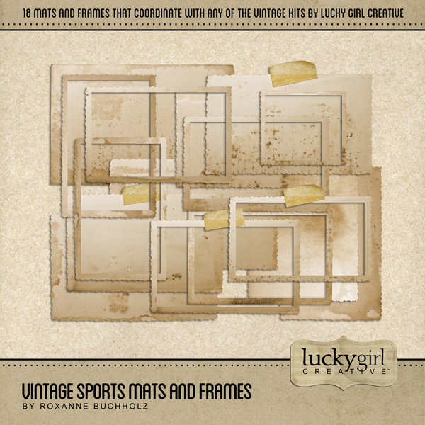 Vintage Sports Mats and Frames Digital Art - Digital Scrapbooking Kits