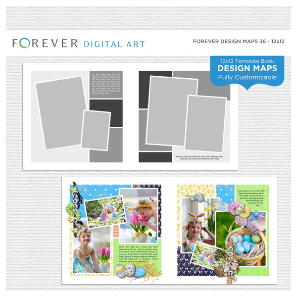 Forever Design Maps 36 12x12 Digital Art - Digital Scrapbooking Kits