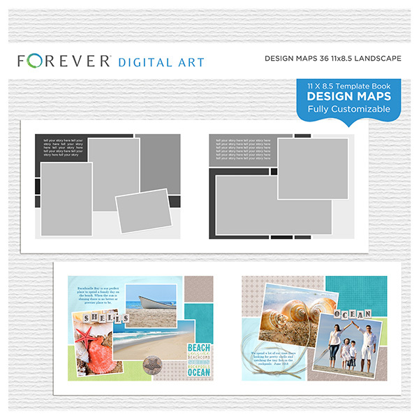 Forever Design Maps 36 11x8.5 Digital Art - Digital Scrapbooking Kits