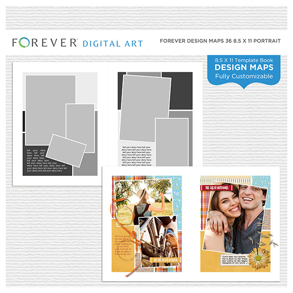 Forever Design Maps 36 8.5x11 Portrait Digital Art - Digital Scrapbooking Kits