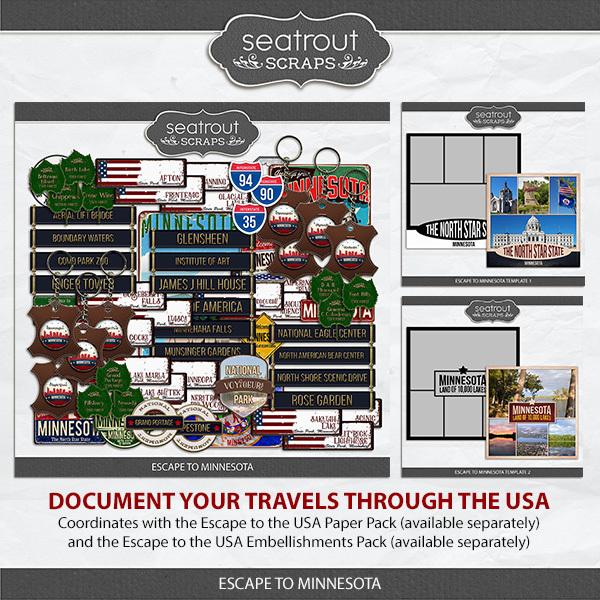 Escape to Minnesota Digital Art - Digital Scrapbooking Kits