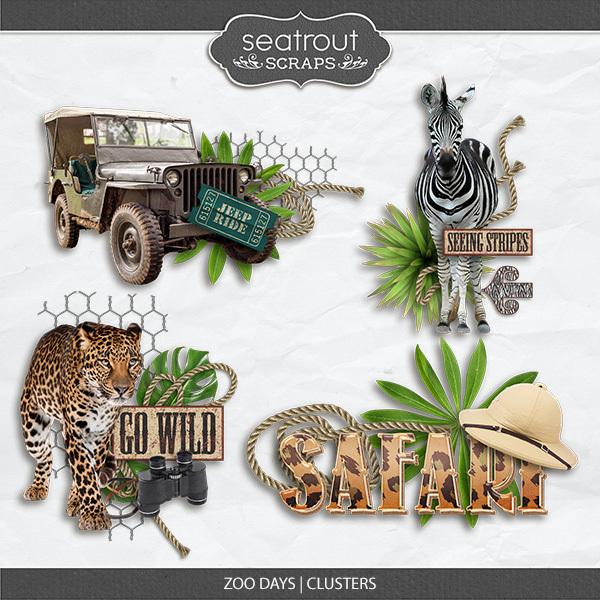 Zoo Days Clusters Digital Art - Digital Scrapbooking Kits