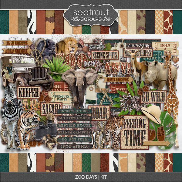 Zoo Days Kit Digital Art - Digital Scrapbooking Kits