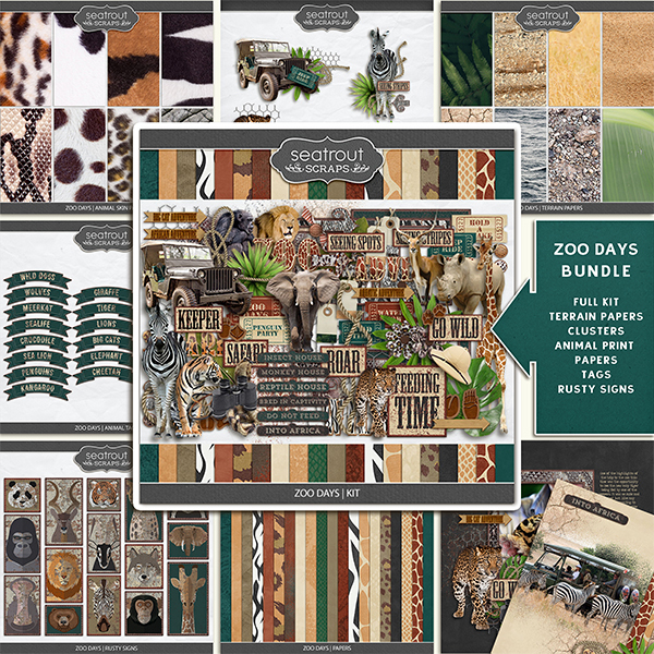 Zoo Days Bundle Digital Art - Digital Scrapbooking Kits