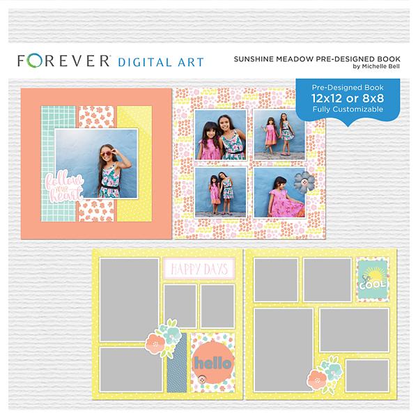 Sunshine Meadow Pre-Designed Book Digital Art - Digital Scrapbooking Kits