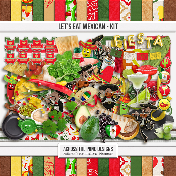 Let's Eat Mexican Page Kit Digital Art - Digital Scrapbooking Kits