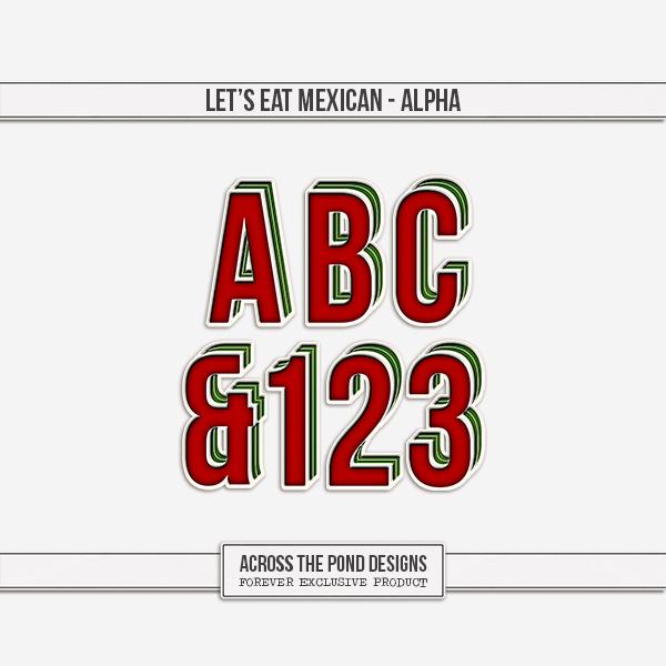 Let's Eat Mexican Alpha Digital Art - Digital Scrapbooking Kits