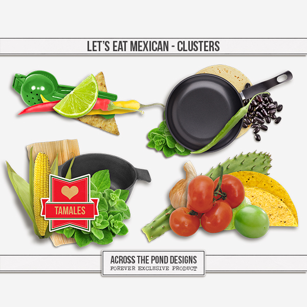 Let's Eat Mexican Clusters Digital Art - Digital Scrapbooking Kits