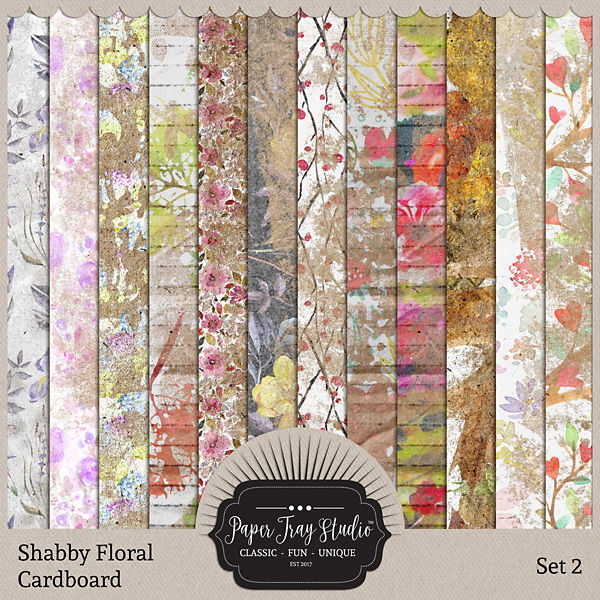 Shabby Floral Cardboard Set 2 Digital Art - Digital Scrapbooking Kits