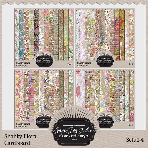 Shabby Floral Cardboard Sets 1-4 Digital Art - Digital Scrapbooking Kits