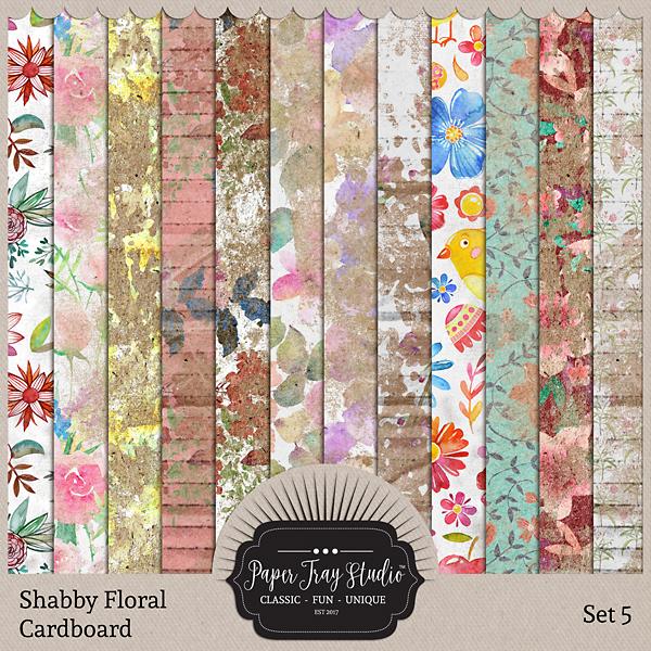 Shabby Floral Cardboard Set 5 Digital Art - Digital Scrapbooking Kits