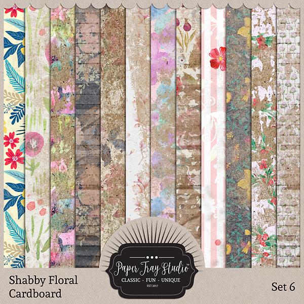 Shabby Floral Cardboard Set 6 Digital Art - Digital Scrapbooking Kits