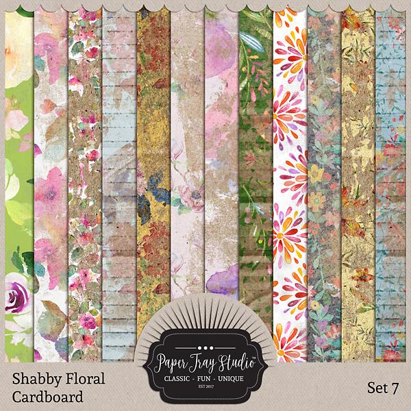 Shabby Floral Cardboard Set 7 Digital Art - Digital Scrapbooking Kits