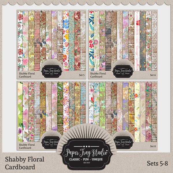 Shabby Floral Cardboard Sets 5-8 Digital Art - Digital Scrapbooking Kits