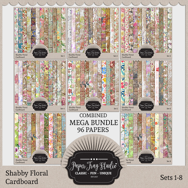 Shabby Floral Cardboard Sets 1-8 Digital Art - Digital Scrapbooking Kits