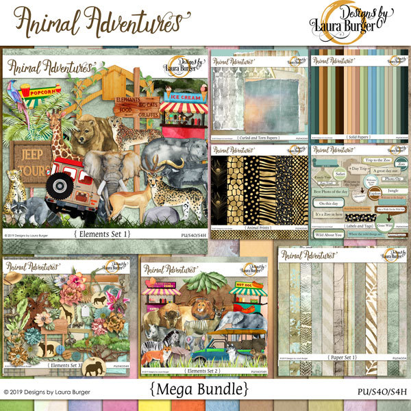 Animal Adventures Mega Bundle Digital Art - Digital Scrapbooking Kits