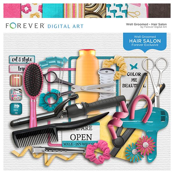 Hair Salon Page Kit Digital Art - Digital Scrapbooking Kits