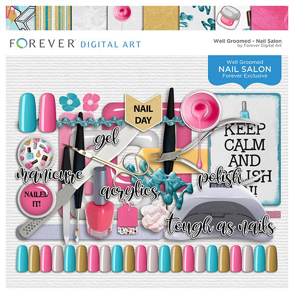 Nail Salon Page Kit Digital Art - Digital Scrapbooking Kits