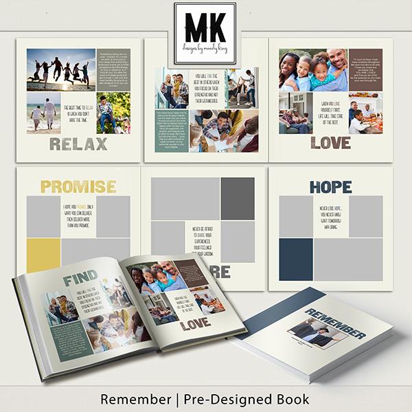 Remember Pre-Designed Book Digital Art - Digital Scrapbooking Kits