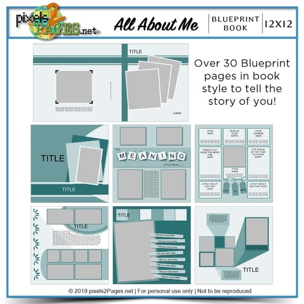 All About Me Blueprint Book Digital Art - Digital Scrapbooking Kits