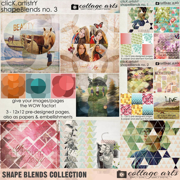 Shape Blends Collection Digital Art - Digital Scrapbooking Kits