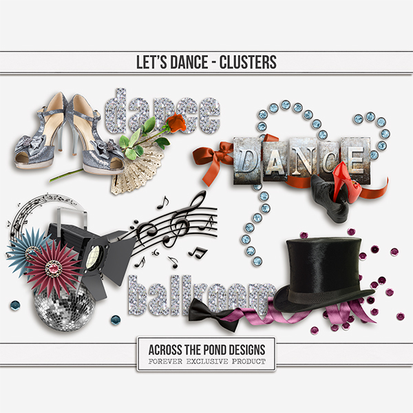 Let's Dance Clusters Digital Art - Digital Scrapbooking Kits