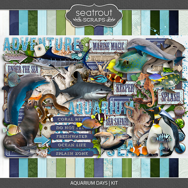 Aquarium Days Kit Digital Art - Digital Scrapbooking Kits
