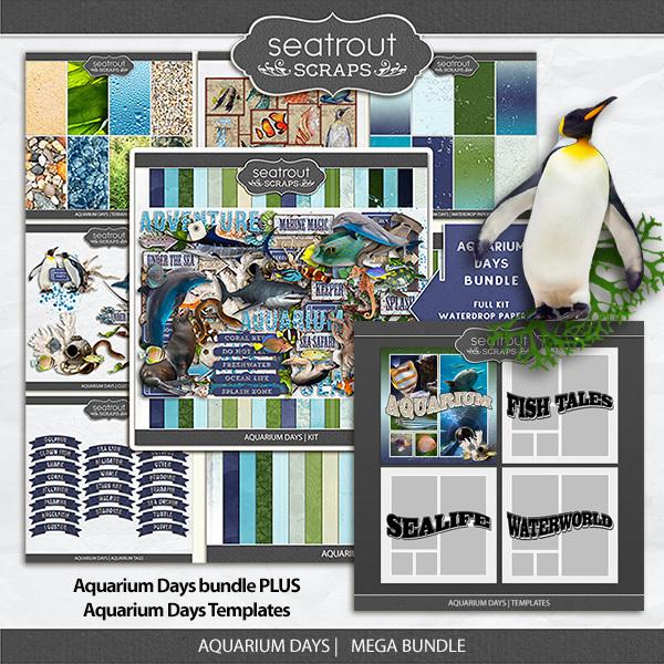 Aquarium Days Mega Bundle Digital Art - Digital Scrapbooking Kits