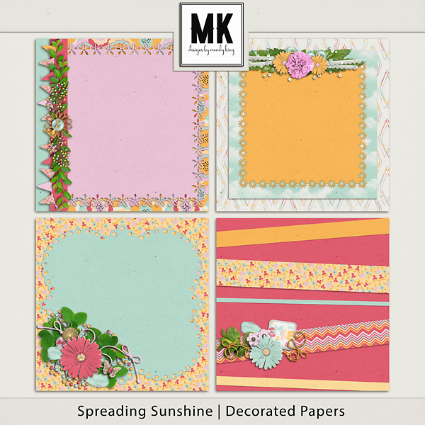 Spreading Sunshine Decorated Pages Digital Art - Digital Scrapbooking Kits