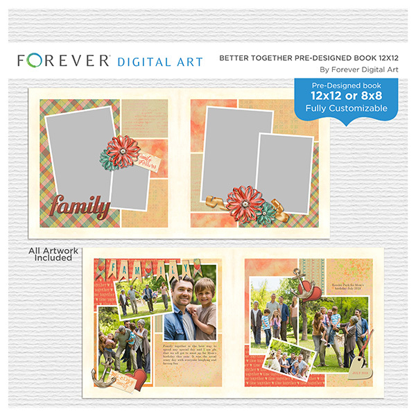 Better Together Pre-designed Book 12x12 Digital Art - Digital Scrapbooking Kits