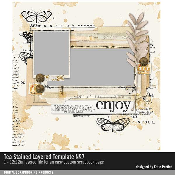 Tea Stained Memories Layered Template No. 07 Digital Art - Digital Scrapbooking Kits
