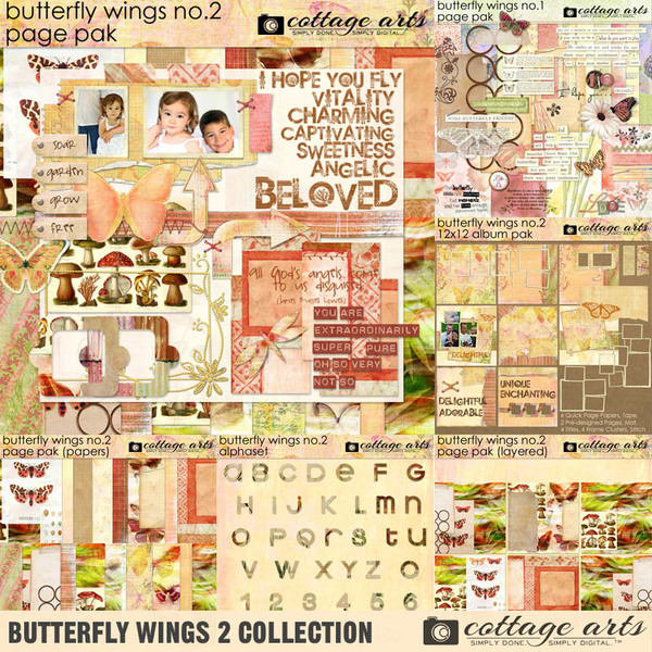 Butterfly Wings 2 Collection Digital Art - Digital Scrapbooking Kits
