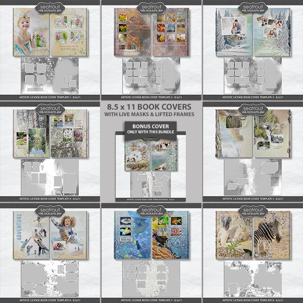 Artistic License Book Cover Template Bonus Bundle - 8.5x11 Digital Art - Digital Scrapbooking Kits