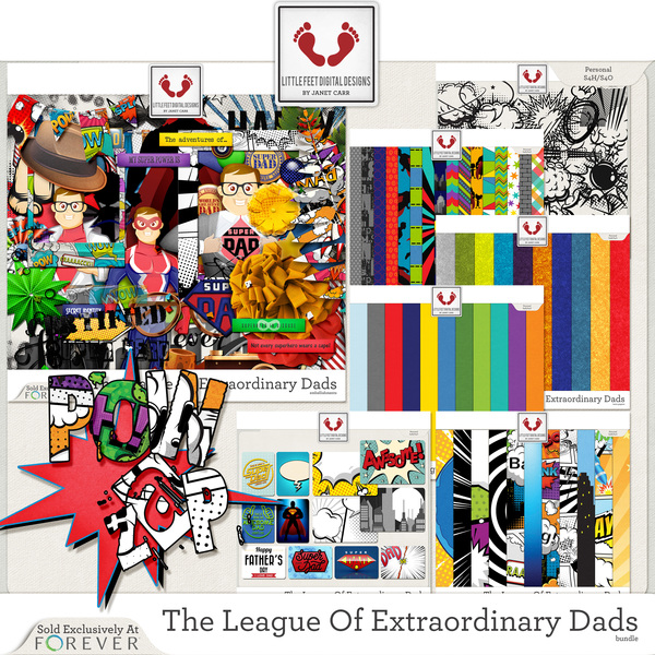 The League Of Extraordinary Dads Bundle Digital Art - Digital Scrapbooking Kits
