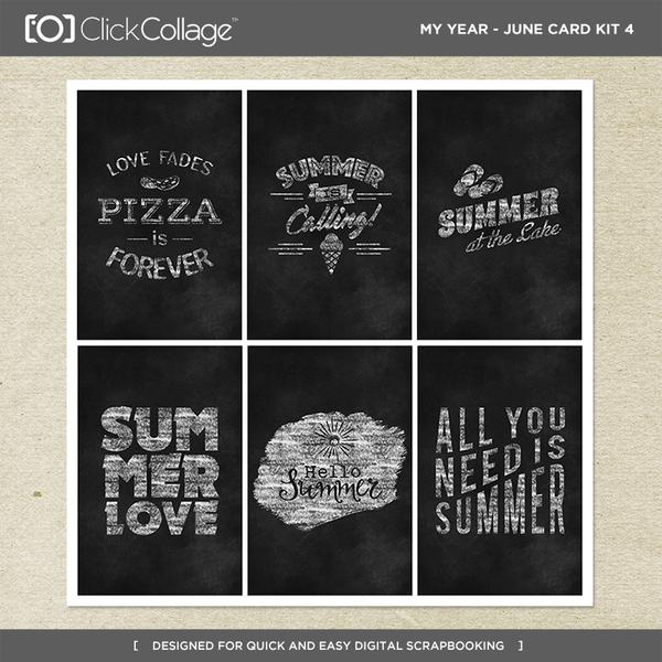 My Year - June Card Kit 4 Digital Art - Digital Scrapbooking Kits