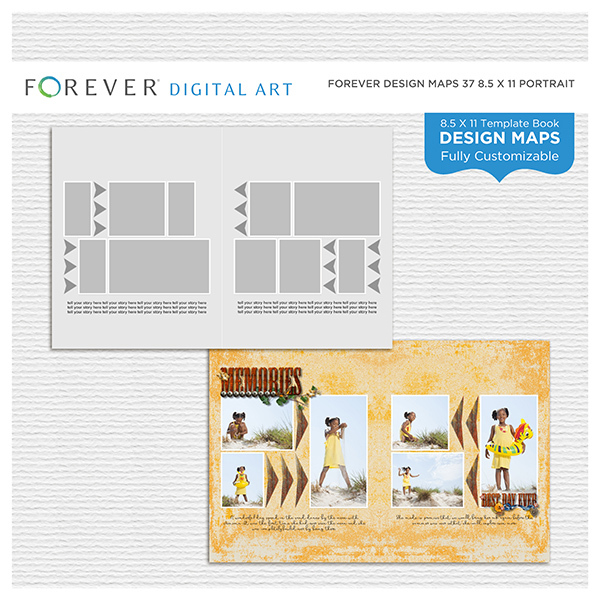 Forever Design Maps 37 8.5x11 Portrait Digital Art - Digital Scrapbooking Kits