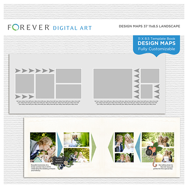 Forever Design Maps 37 11x8.5 Digital Art - Digital Scrapbooking Kits