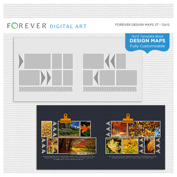 Forever Design Maps 37 12x12 Digital Art - Digital Scrapbooking Kits