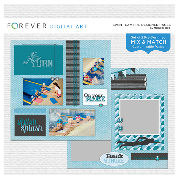 Swim Team Pre-designed Pages Digital Art - Digital Scrapbooking Kits