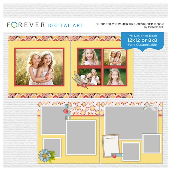 Suddenly Summer Pre-designed Book Digital Art - Digital Scrapbooking Kits