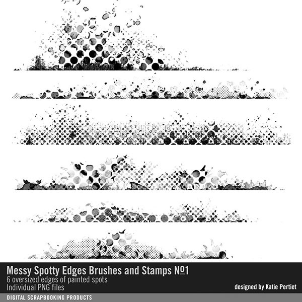 Messy Spotty Edgers Brushes and Stamps No. 01 Digital Art - Digital Scrapbooking Kits
