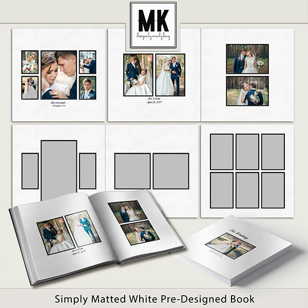 Simply Matted White Pre-Designed Book Digital Art - Digital Scrapbooking Kits