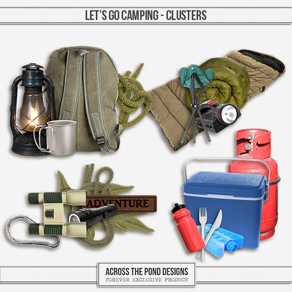 Let's Go Camping Clusters Digital Art - Digital Scrapbooking Kits