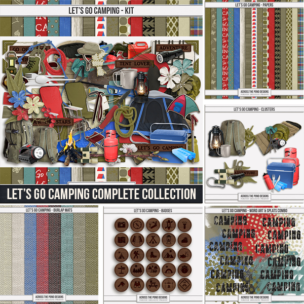 Let's Go Camping Complete Collection Digital Art - Digital Scrapbooking Kits