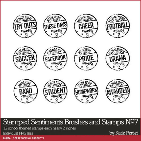 Stamped Sentiments No. 07 Brushes and Stamps Digital Art - Digital Scrapbooking Kits