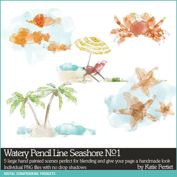 Watery Pencil Line Seashore No. 01 Digital Art - Digital Scrapbooking Kits