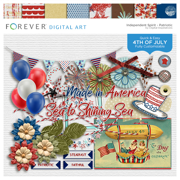 Independent Spirit Patriotic Digital Art - Digital Scrapbooking Kits